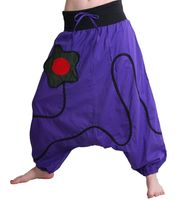 Goa Baggy Pants Divided Skirt in Purple with Flower-Patch