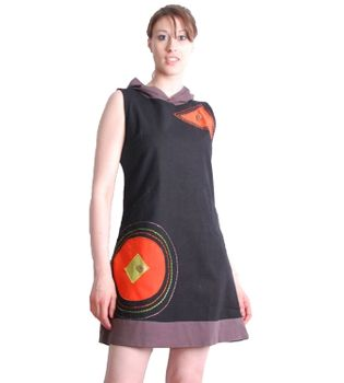Boho Hippie Tunic Minidress Longshirt with Hood Black/Orange – Bild 2
