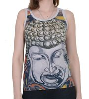 White 70s Retro Top with Buddha Head Print