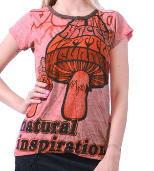 70er Retro Top Sure Magic Mushroom Psy Goa T-Shirt Girlie Rot