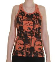 70s Retro Top Sure Buddha Heads Psy Goa T-Shirt in Flashy Colors 001