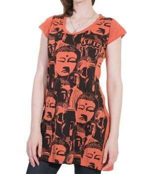 70s Retro Longshirt Minidress Sure Psy Goa T-Shirt with Buddha Heads – Bild 5