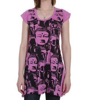 70er Retro Longshirt Minikleid Sure Psy Goa T-Shirt mit Buddha Köpfen – Bild 2