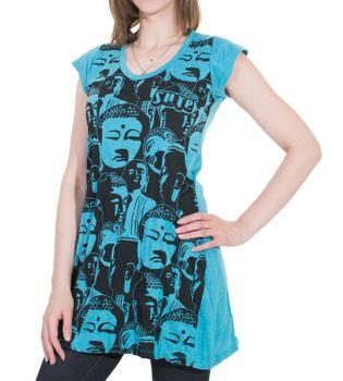 70er Retro Longshirt Minikleid Sure Psy Goa T-Shirt mit Buddha Köpfen – Bild 3