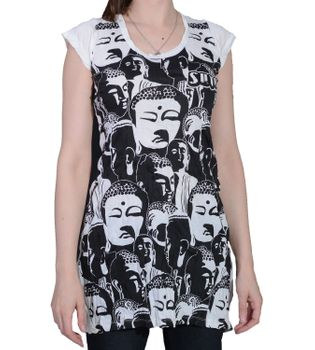 70s Retro Longshirt Minidress Sure Psy Goa T-Shirt with Buddha Heads – Bild 4