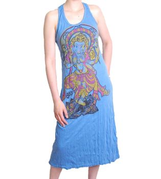 Ganesha Summer Dress Retro Hippie 70s T-Shirt Goa Sure Blue