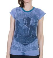 Sure 70s Retro WEED Top Girlie T-Shirt Buddha Meditation