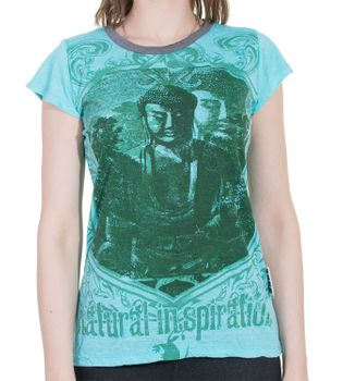 70er Retro Top Sure Weed Buddha Meditation Girlie T-Shirt im Knitter Look – Bild 7
