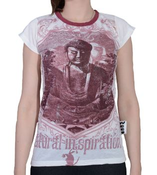 70er Retro Top Sure Weed Buddha Meditation Girlie T-Shirt im Knitter Look – Bild 6