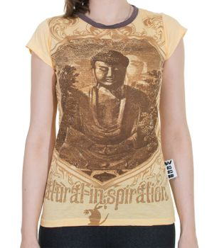 70er Retro Top Sure Weed Buddha Meditation Girlie T-Shirt im Knitter Look – Bild 3