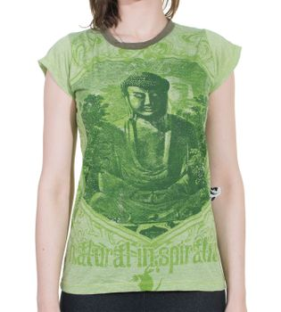70er Retro Top Sure Weed Buddha Meditation Girlie T-Shirt im Knitter Look – Bild 2