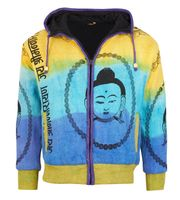 Goa Om Buddha Batik Knit Jacket Elfin Hippie with Fleece Lining