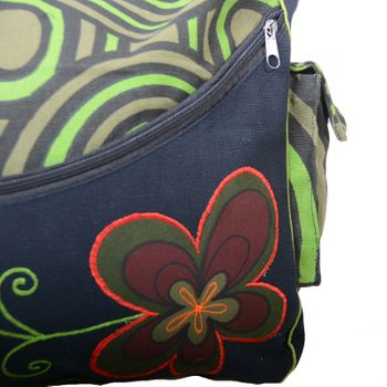 "OM Hippie Shoulder Bag ""Nepal Flower"" Goa Bag – Bild 3"