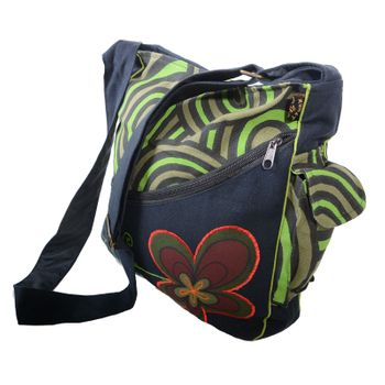 "OM Hippie Shoulder Bag ""Nepal Flower"" Goa Bag – Bild 4"
