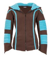 Psy Goa Fleece Jacket Elfin Hood Fleece Hippie Jacket in brown / turquoise 001