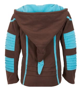 Psy Goa Fleece Jacket Elfin Hood Fleece Hippie Jacket in brown / turquoise – Bild 2