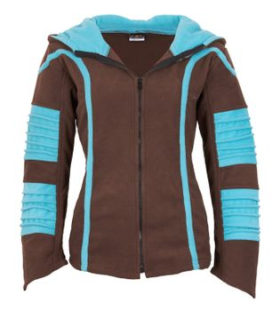 Psy Goa Fleece Jacket Elfin Hood Fleece Hippie Jacket in brown / turquoise – Bild 1