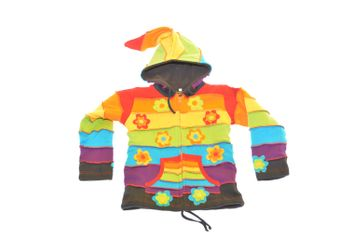 Colorful Gnome Jacket with Hood Rainbow and Fantasy Flowers
