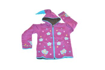 Kids Hippie Jacket with Funny Elfin Hood Gnome Style Flower Applications – Bild 2