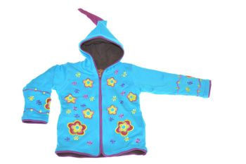 Kids Hippie Jacket with Funny Elfin Hood Gnome Style Flower Applications – Bild 4
