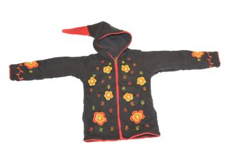 Kids Hippie Jacket with Funny Elfin Hood Gnome Style Flower Applications