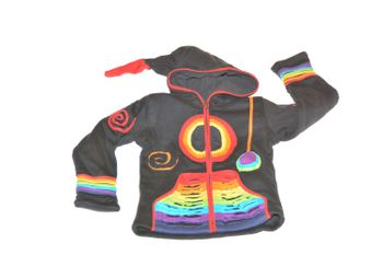 Kids Hippie Jacket with Funny Elfin Hood Patchwork Black/Rainbow