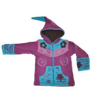 Kids Hippie Jacket with Funny Elfin Hood Patchwork – Bild 2