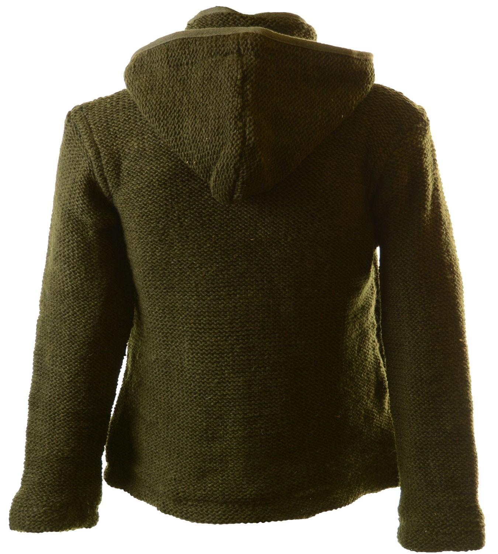 5ceebef2551d Nepal Strickjacke Poncho Pullover Wolle mit Fleecefutter und Kapuze