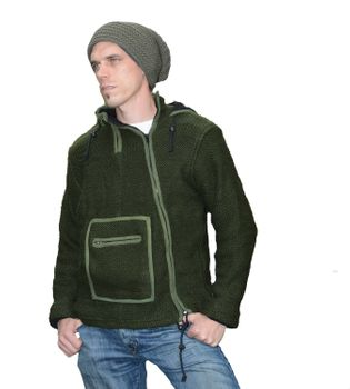 Nepal Knit Jacket Poncho Sweater Wool with Fleece Lining and Hood – Bild 7