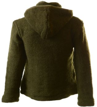 Nepal Knit Jacket Poncho Sweater Wool with Fleece Lining and Hood – Bild 2