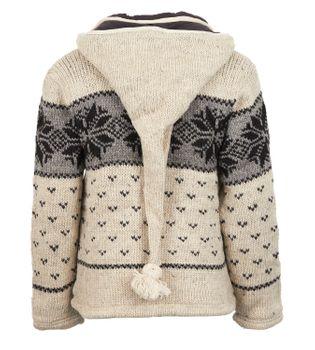 Strickjacke Wolle Jacke Norwegermuster mit Fleecefutter und Abnehmbarer Langer Zipfelkapuze – Bild 6