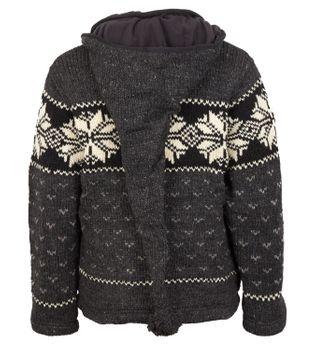 Strickjacke Wolle Jacke Norwegermuster mit Fleecefutter und Abnehmbarer Langer Zipfelkapuze – Bild 2