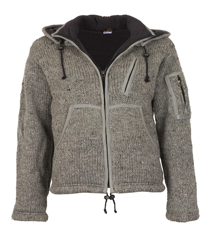 100% echt Schnäppchen 2017 Verarbeitung finden Herren Strickjacke Wolle Jacke mit Fleecefutter und abnehmbarer langer  Zipfelkapuze
