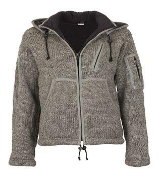 Herren Strickjacke Wolle Jacke mit Fleecefutter und abnehmbarer langer Zipfelkapuze – Bild 3