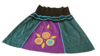 Patchwork Mini Summer Skirt Hippie Goa Boho Colorful Dance Skirt with Flowers
