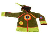 Kids Hippie Jacket with Funny Elfin Hood Gnome Razor Cut Design Rainbow Applications