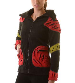 Elfenhafte Fleece Jacke mit Cutwork Patches Goa Psy Hippie Fraggle – Bild 6