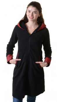 Fleece coat jacket with hood Goa Psy Hippie Boho romantic – Bild 10