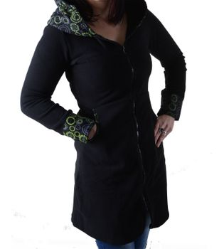 Fleece coat jacket with hood Goa Psy Hippie Boho romantic – Bild 5