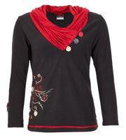 Elfen Fleece Pullover mit außergewöhnlichem Kapuzenkragen 001