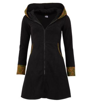 Women's Fleece Mantel Coat Jacket with Hood Goa Psy Hippie Boho Extravagant – Bild 1