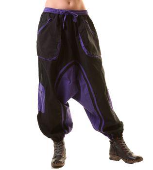Unisex Psy Baggy Pants Hippie Hose Goa Baumwoll Tanzhose Schwarz – Bild 1