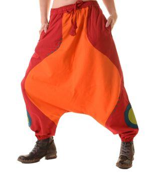 Unisex Psy Aladin Pants Hippie Hose Goa Baumwoll Tanzhose Rot/Orange – Bild 3