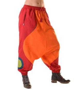 Unisex Psy Aladin Pants Hippie Hose Goa Baumwoll Tanzhose Rot/Orange