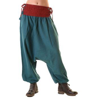 Psy Goa Hippie Hose Aladinhose Afghani Haremshose mit Schnürung Pluderhose in tollen Farben – Bild 1