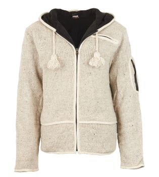 Men cardigan wool cardigan with fleece lining and long zip hood – Bild 1