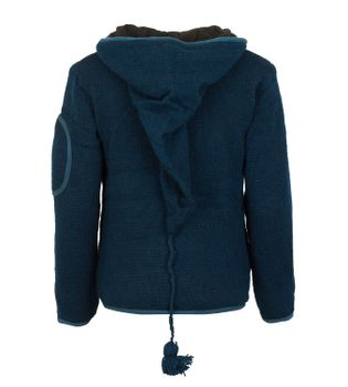 Men cardigan wool cardigan with fleece lining and long zip hood – Bild 4