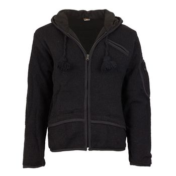 Men cardigan wool cardigan with fleece lining and long zip hood – Bild 5