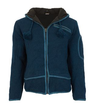 Men cardigan wool cardigan with fleece lining and long zip hood – Bild 3