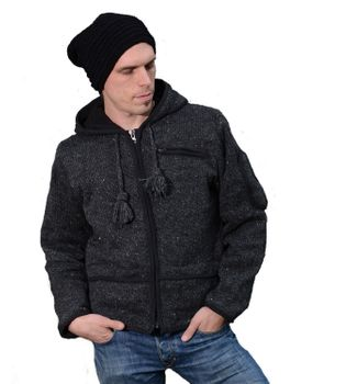 Men cardigan wool cardigan with fleece lining and long zip hood – Bild 7